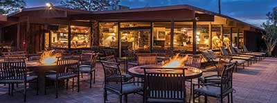 Arizona Dude Ranch Specials-Patio at Nightime - White Stallion Ranch